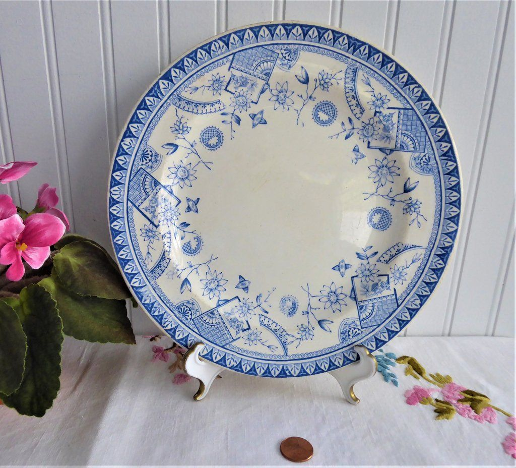 On Sale Crescent China 10 inch Porcelain Dinner Plate Tara Design with Yellow Blue Orange and Pink Flowers