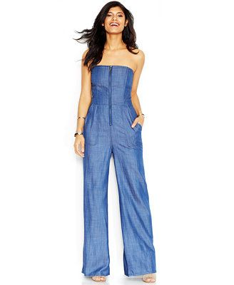 14ebd06c9d79 RACHEL Rachel Roy Bandeau-Neck Smocked Denim Jumpsuit