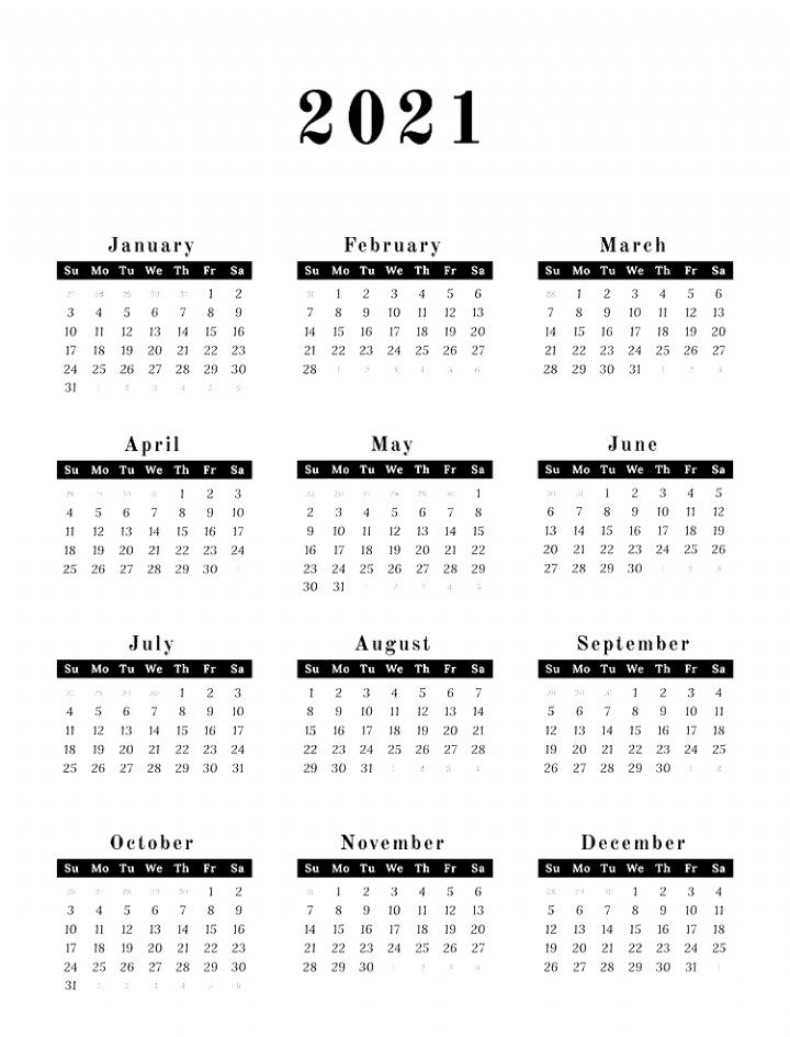 2021 Calendar Printable in 2020 | Calendar printables ...
