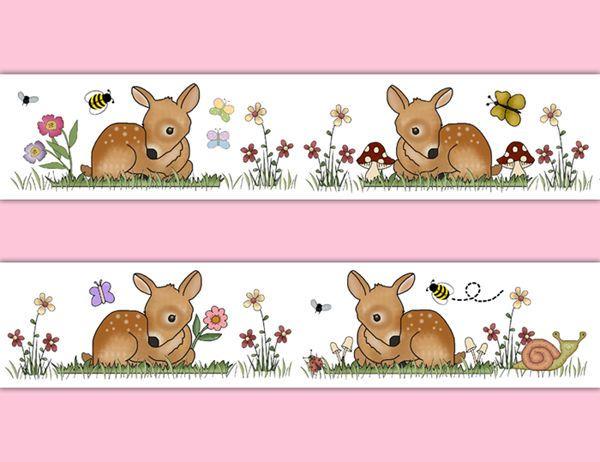 Deer Fawn Wallpaper Border Decal Wall Art Girl Woodland Animal Nursery Stickers Fawn Wallpaper Forest Animal Nursery Woodland Animal Nursery