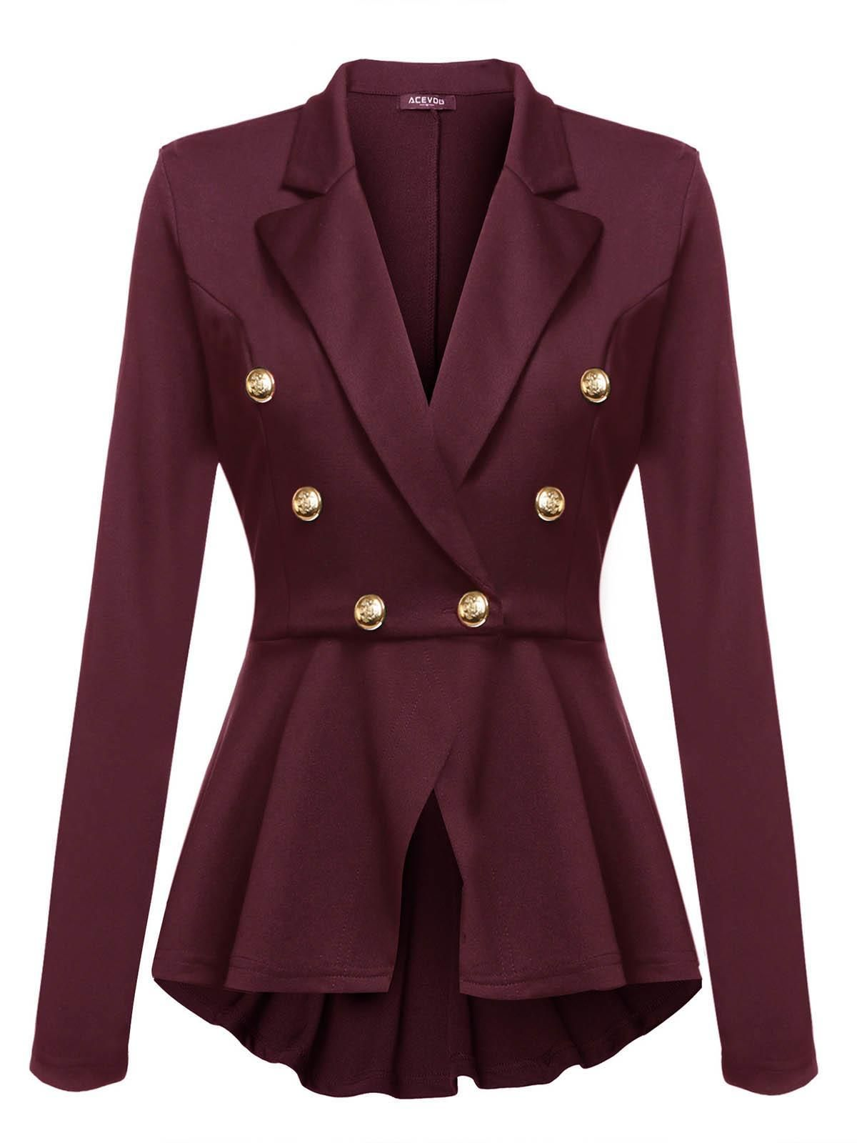 c09309e5e1 Rojo de vino Blazer Casual Peplum Slim Fit manga larga para mujer  dresslink.com