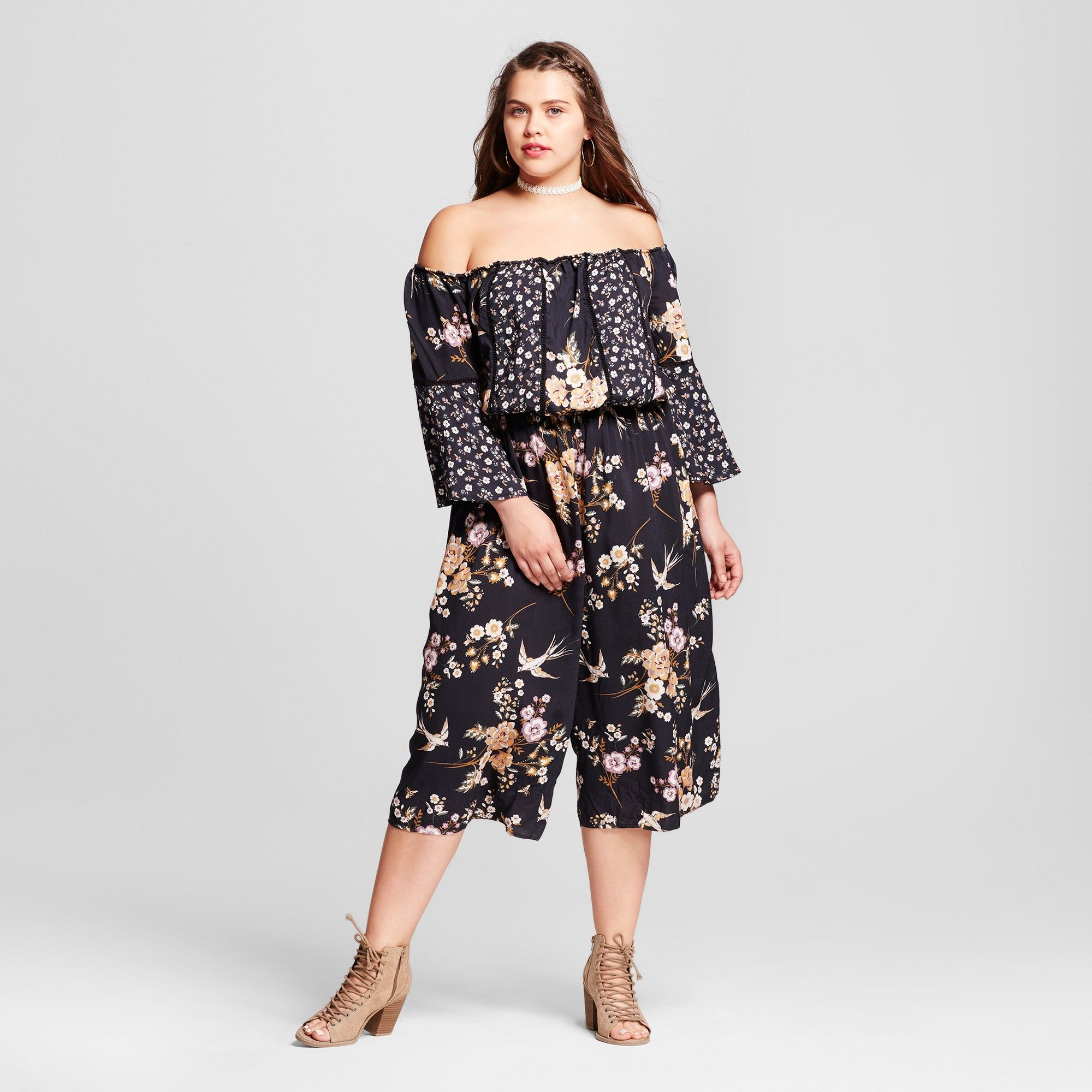 eb30bc73a8d0 Women s Plus Size Off the Shoulder Printed Woven Jumpsuit - Xhilaration  Black X