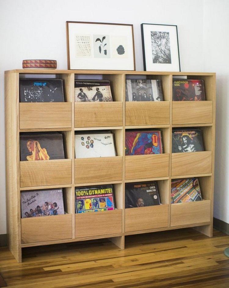 rangement vinyle pour les disques meuble en bois massif tableaux d coratifs et parquet massif. Black Bedroom Furniture Sets. Home Design Ideas