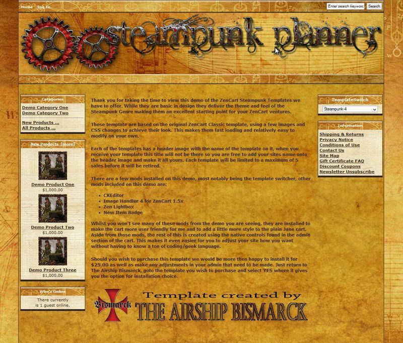 Steampunk Planner ZenCart Template [ASBZC0004] 15.00
