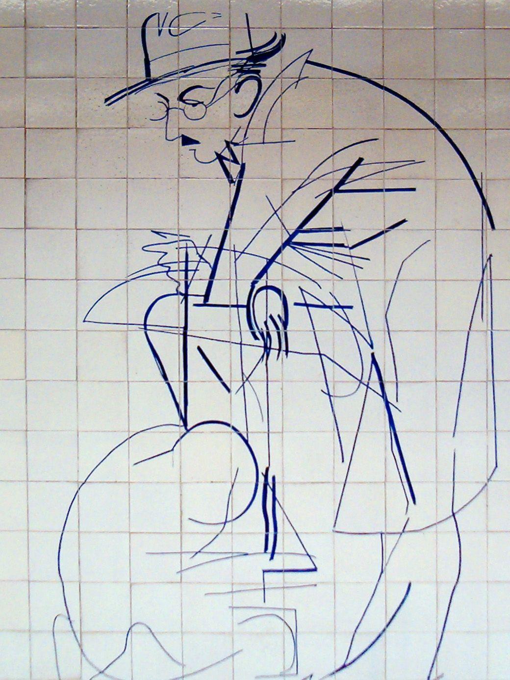 Júlio Pomar, Fernando Pessoa, azulejos, Metro Alto dos Moinhos, Lisboa. Photo de Koshelyev