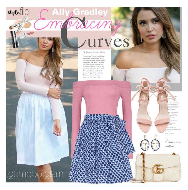 """""""Embracing Curves - Ally Gradley"""" by ivansyd ❤ liked on Polyvore featuring Boohoo, Miu Miu, Gucci, MANGO, Christian Dior, Rodin, W3LL People, plussize and allygradley"""