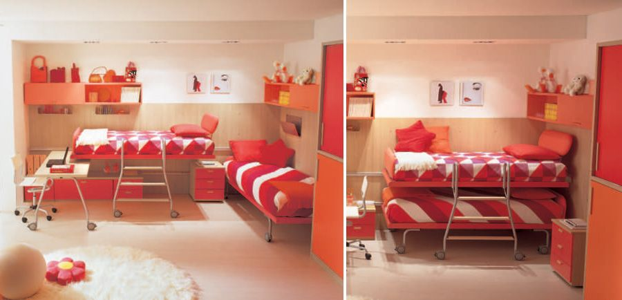 Nice Wonderful And Ergonomic Bedroom Ideas For Two Children By DearKids : Cool  And Ergonomic Bedroom Ideas For Two Children By DearKids With White Orange  Red Bed ... Amazing Pictures