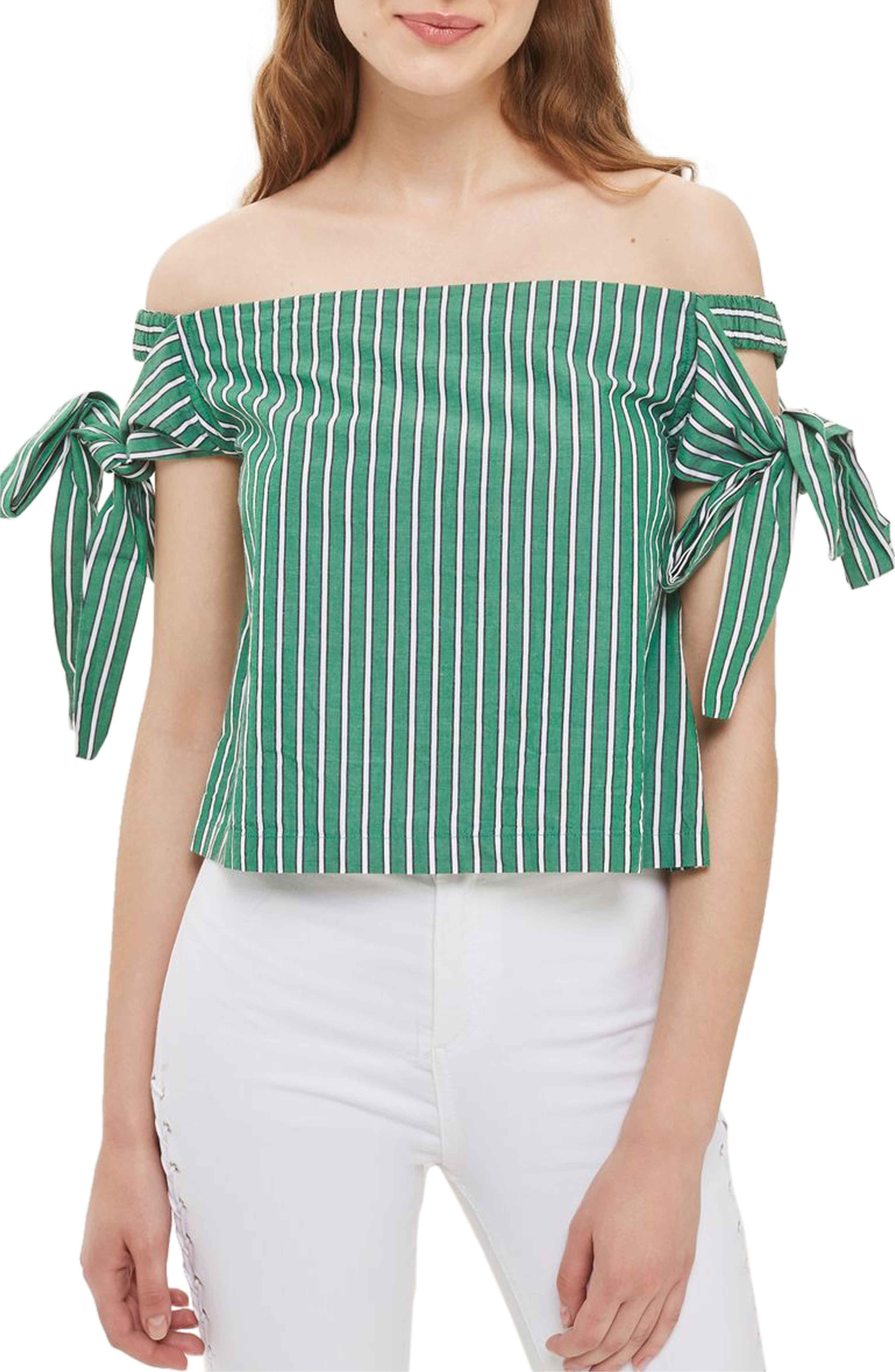 4a01043545f05 Main Image - Topshop Bardot Tie Sleeve Stripe Top