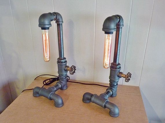 FAUCET HANDLE DIMMER Pair of black iron pipe lamps by ...