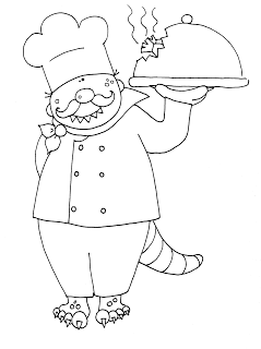 Free Dearie Dolls Digi Stamps Beastie Chef With Dinner