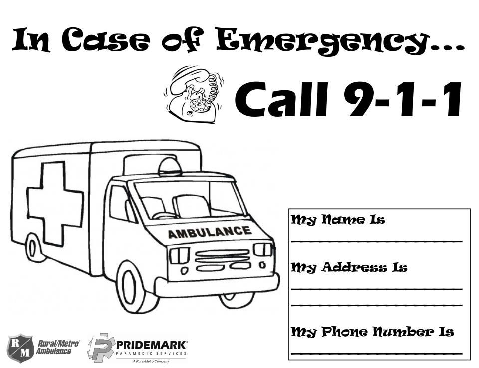 9 1 1 Safety Coloring Sheet Community Workers Early Learning