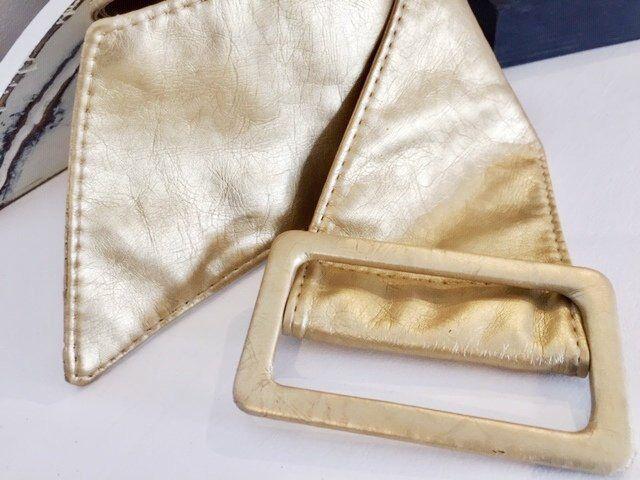 VTG 1980 s or faux cuir ceinture, Disco or ceinture, ceinture en cuir Vegan, Boho extra large ceinture dorée, Extra ceinture large en simili cuir