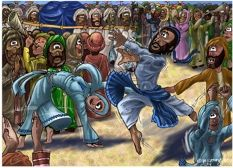 2 Samuel 6:14-15 (ANIV) David, wearing a linen ephod, danced before the Lord with all his might, while he and the entire house of Israel brought up the ark of the Lord with shouts and the sound of trumpets.
