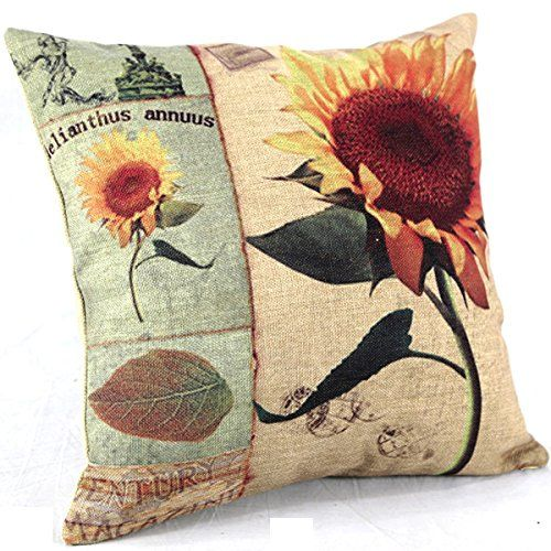 """Create For-Life Cotton Linen Decorative Pillowcase Throw Pillow Cushion Cover Square 18"""" Vintage Sunflower Helianthus Annuus Create For-Life http://www.amazon.com/dp/B00MRSKD32/ref=cm_sw_r_pi_dp_oIhgvb15NH26S"""