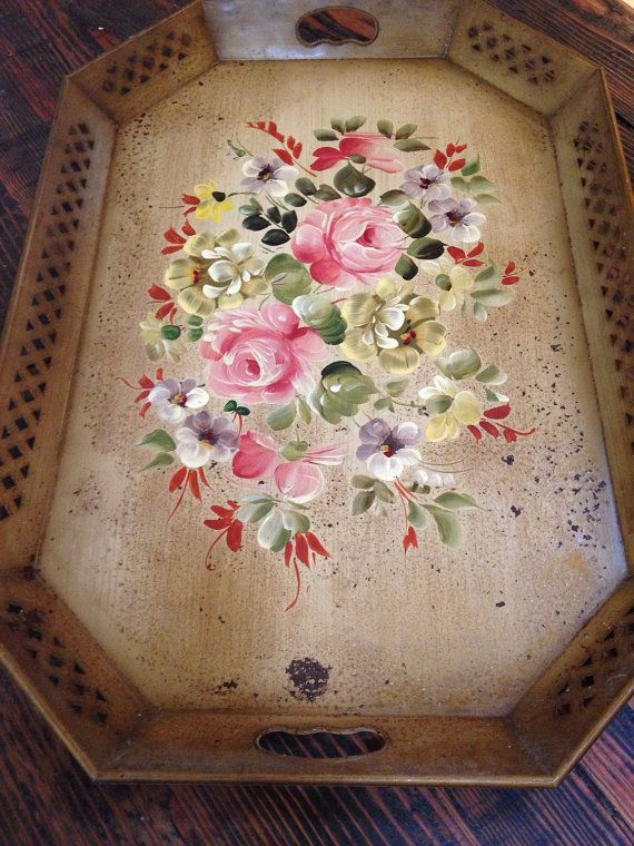 Vintage flower tole tray