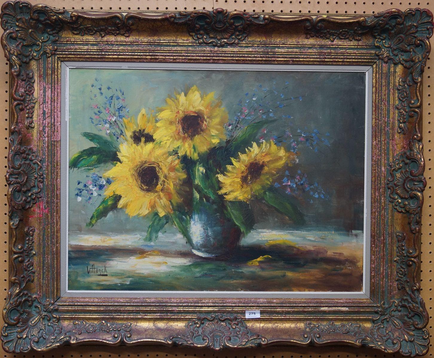 Belgische school, V. Honck l.o. gesigneerd, olieverf op doek, stilleven met zonnebloemen in vaas