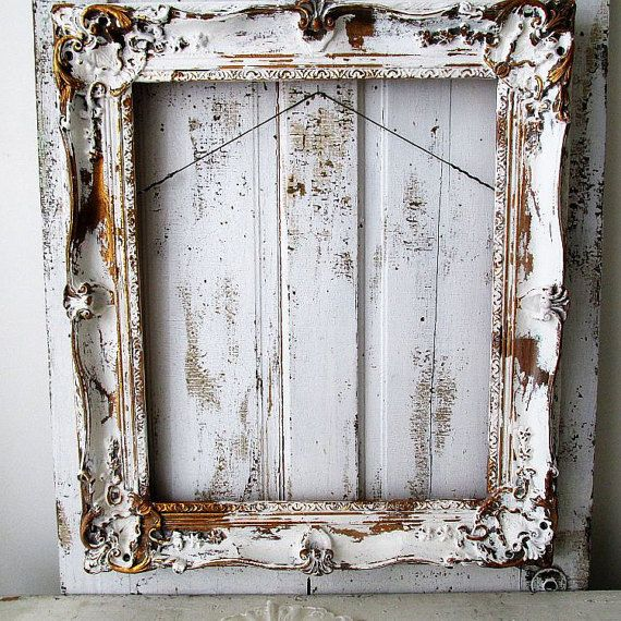Large wooden picture frame distressed white w/ gold gilding French ...