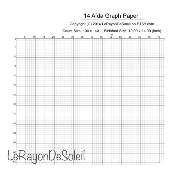 Aida 14 cross stitch graph paper grid template by LeRayonDeSoleil