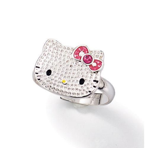 Silvertone textured Hello Kitty Ring with pink faux stones Comes in