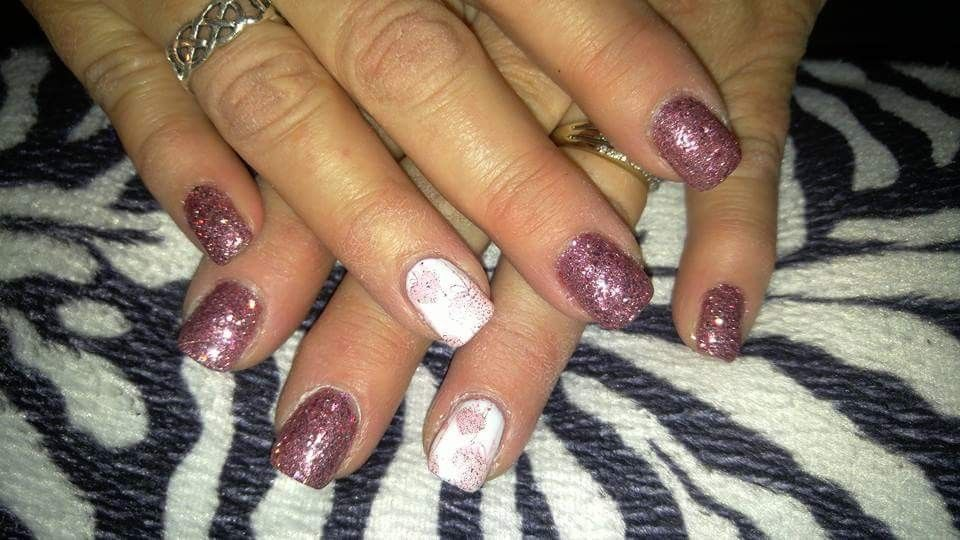 Valentine's Day nail design! Acrylic nails with stamped nail art and gel  top ... - Valentine's Day Nail Design! Acrylic Nails With Stamped Nail Art And