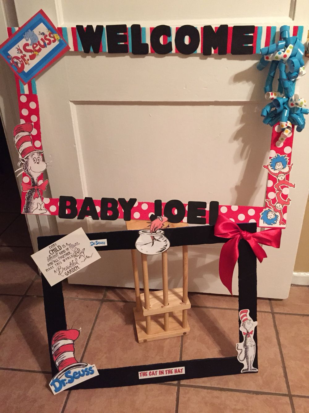 Two Dr Suess Photo Booth frames for Baby Shower. Small black & Large ...