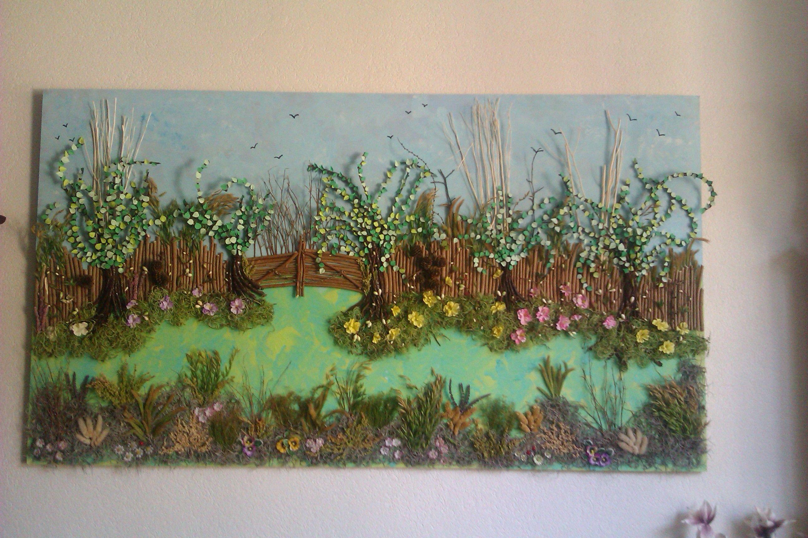 groot schilderij van restjes.Gemaakt door Gerrie van Leeuwen.