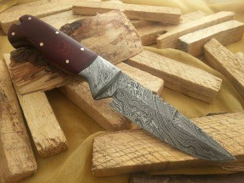 "Amazon.com: ""MASSIVE SALE!!!!!"" Custom Damascus Handmade Hunting Knife. With Leather Sheath. Top Quality.: Sports & Outdoors"