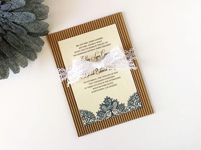 Diy Rustic Shabby Chic Lace Wedding Invitation Download Print