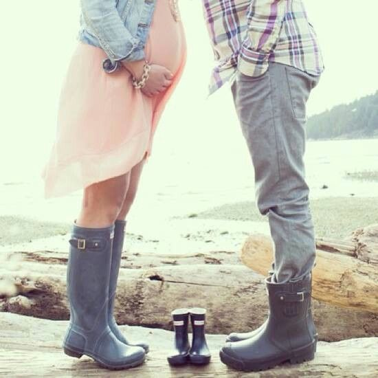 Cute gumboot pregnancy shoot