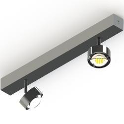 Photo of Top Light Puk Choice Turn ceiling lamp 2 heads matt chrome 45cm Led Top Light