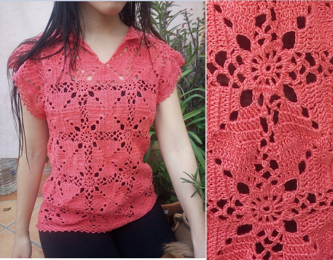 Jersey coral crochet > Aplicacion https://www.youtube.com/watch?v ...