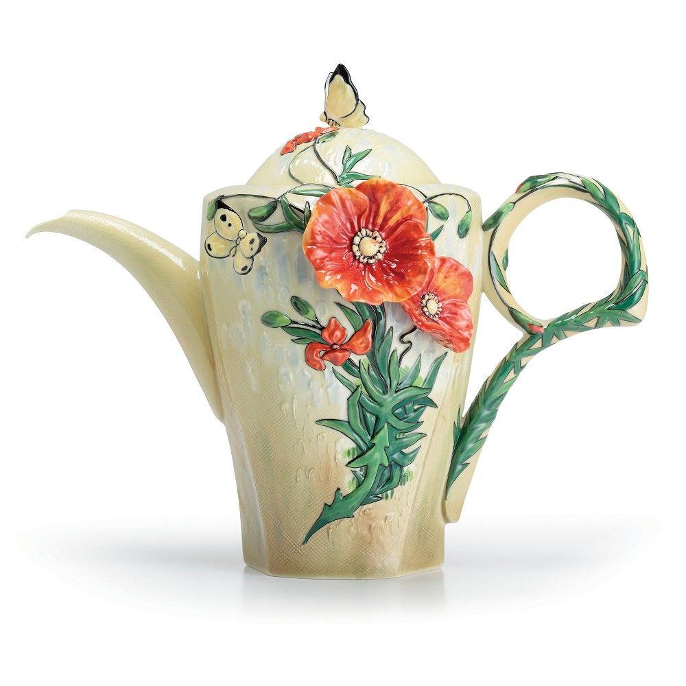 Franz Porcelain Van Gogh Poppy Flower Teapot Fine Porcelain Status