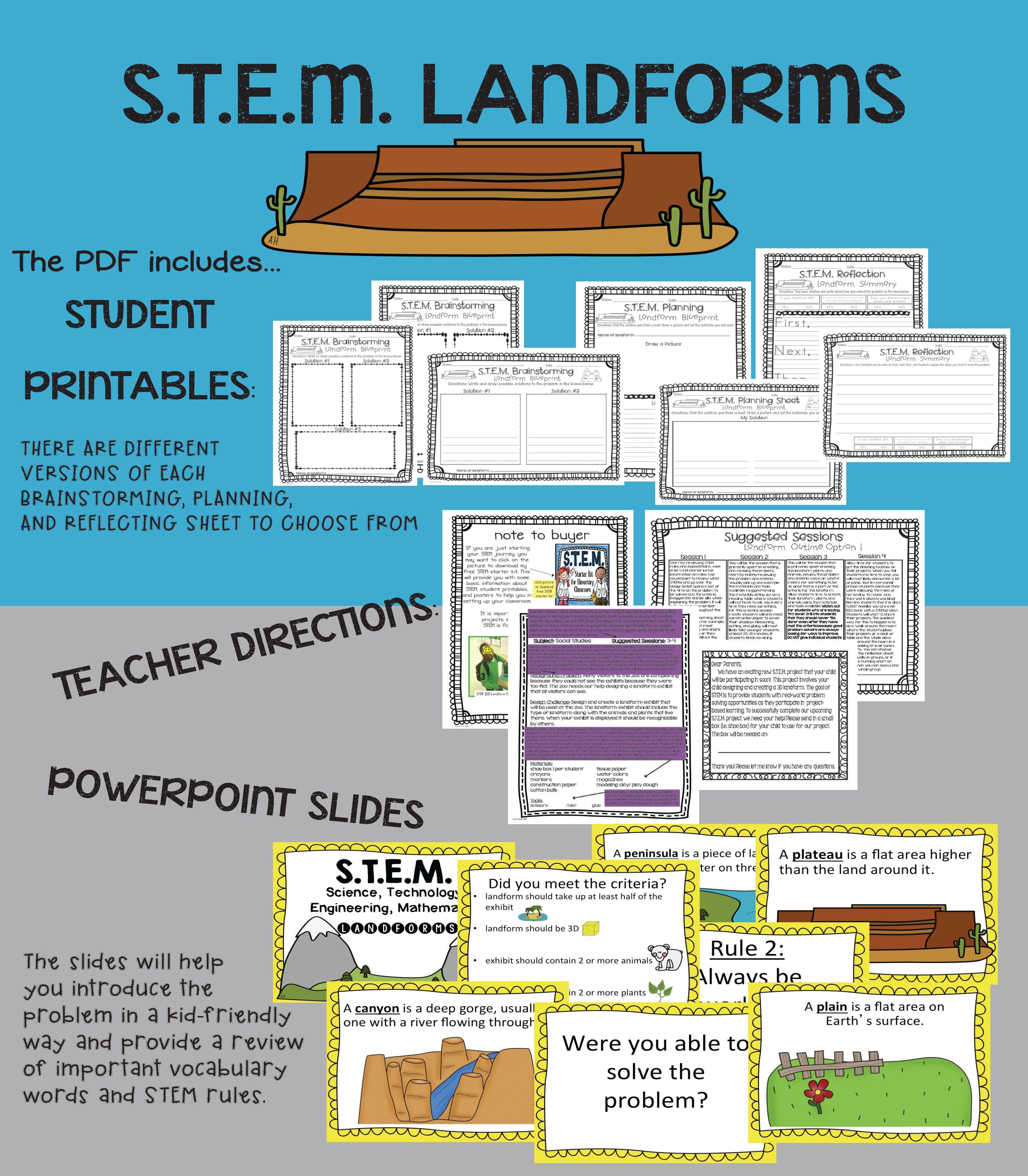 Stem School Design: Landforms PDF & Powerpoint {Elementary