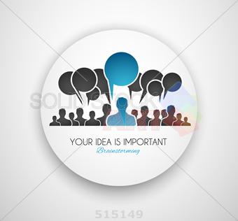 stock illustration of communications infographics human silhouettes speech bubbles blue accent text inside circle on grey