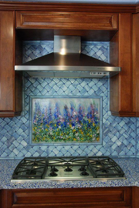 Monet Art Work With Basketweave Backsplash Kitchen Mosaic