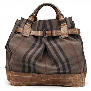 fcd54291fb1b Burberry. Overdyed vintage check tote with alligator belt. This is why  women don t have just one bag!