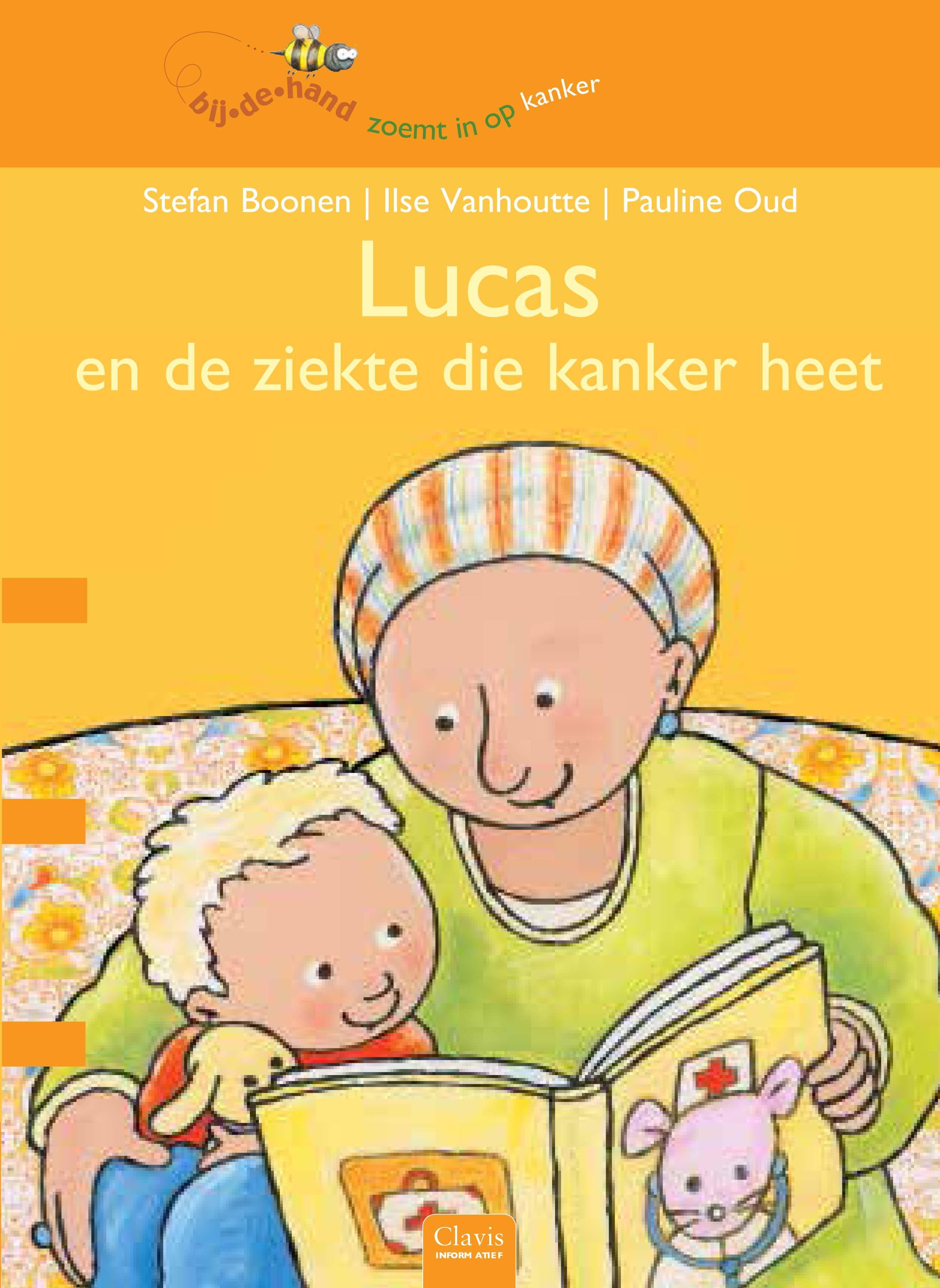 Als bij de moeder van kleuter Lucas (borst)kanker wordt geconstateerd, verandert er veel voor het gezin. De behandeling van de moeder vanaf de operatie, chemotherapie, bestraling en de genezing, worden in dit prentenboek gevolgd door Lucas. Hij vertelt vanuit de ik-persoon over wat hij meemaakt en hoe hij zich voelt. | Plaats in de bib: Mens - lichaam (jeugdafdeling) GEEL 5+