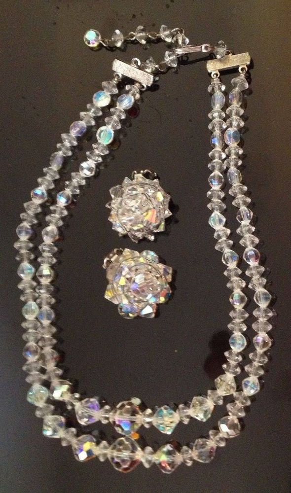 VINTAGE 1950s SET IRIDESCENT AURORA BOREALIS CUT CRYSTALS NECKLACE & EARRINGS #AuroraBorealis