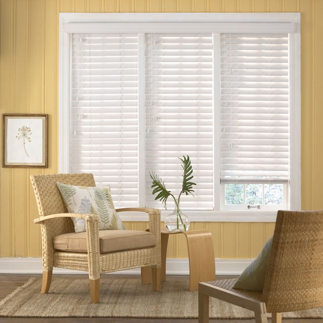Bali 2 1 2 Double Bevel Composite Blinds Wooden Blinds Living Room White Faux Wood Blinds Faux Wood Blinds