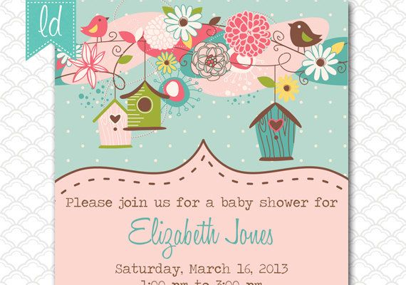 Bird Houses Invitation Bird Birthday by LeesaDykstraDesigns 1500