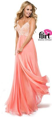 Flirt by Maggie Sottero 2014 Prom Dresses - Coral Chiffon Dress with Lace Bodice