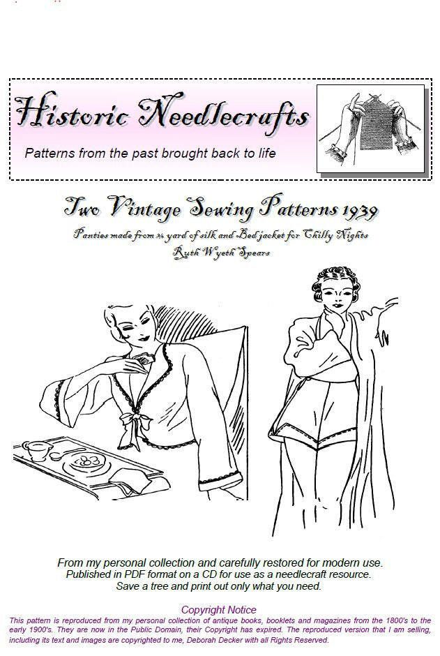 Two Vintage Sewing Instructions Panties and Bedjacket 1939 PDF Pattern Ruth Wyeth Spears by KnittyDebby on Etsy #vintagesewing #vintageunderwear #bedjacket