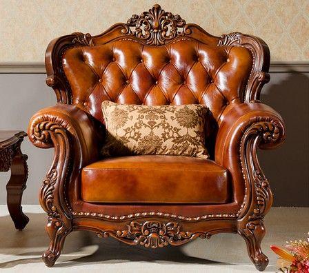 Hand Carving Wood Leather Sofa Set European Sofa Set Mdescs N26