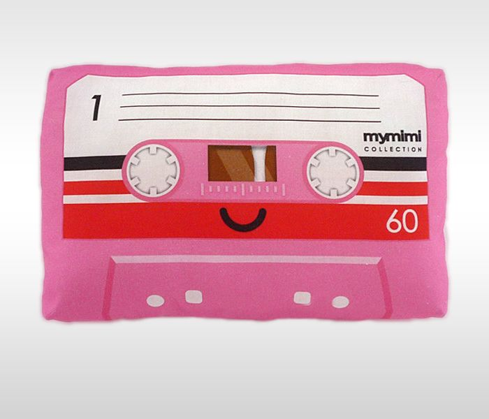 Decorative Pink Cassette Mix Tape Throw Pillow by mymimi