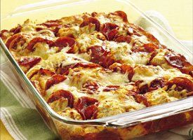 4 Ingredient Pizza Bake = 2 pouches Bisquick biscuit mix, water, pizza sauce, pepperoni & mozzarella (35 minutes to cook)