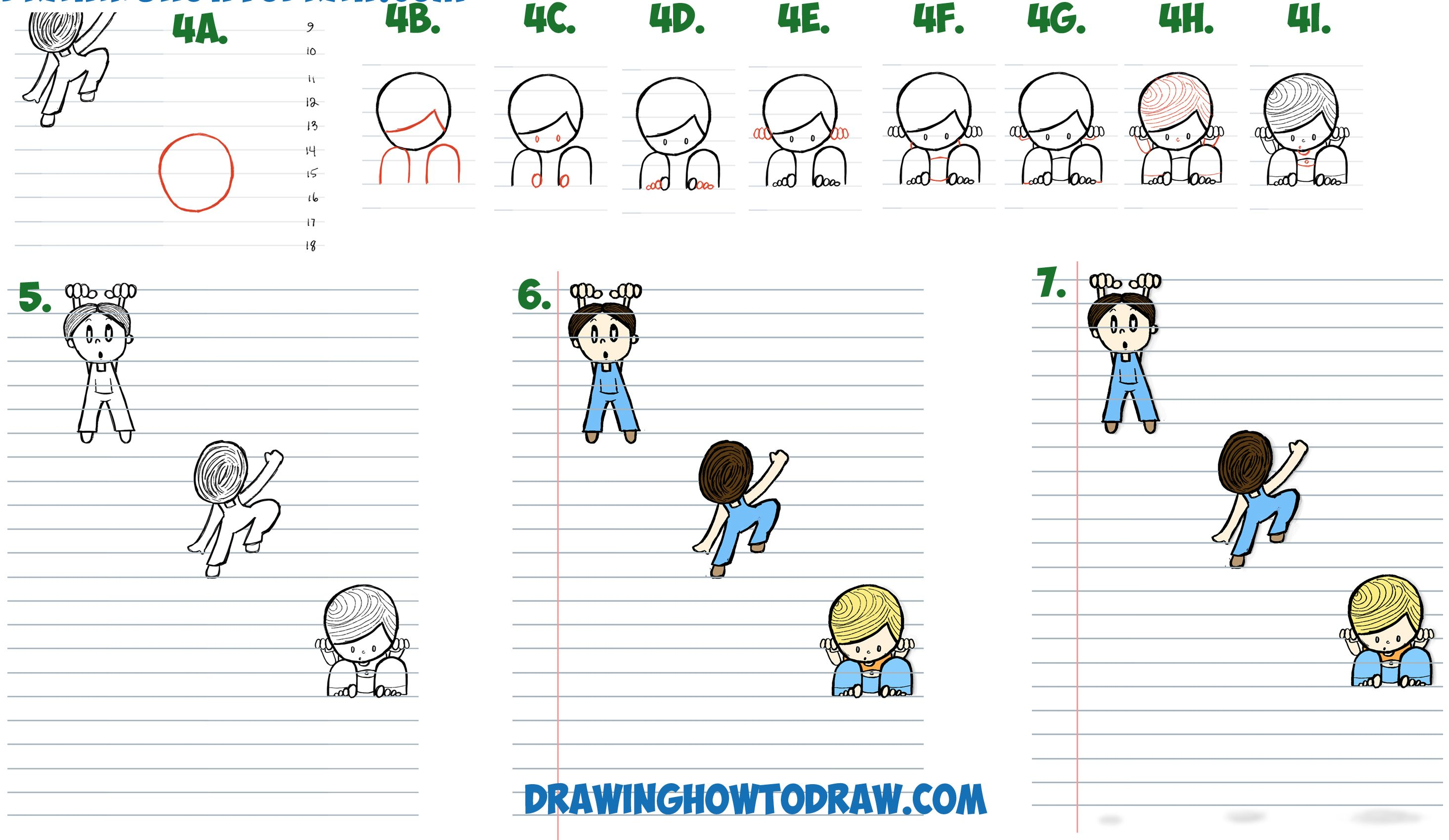 How to Draw Cartoon Boys Climbing Notebook Paper Cool 3D ...
