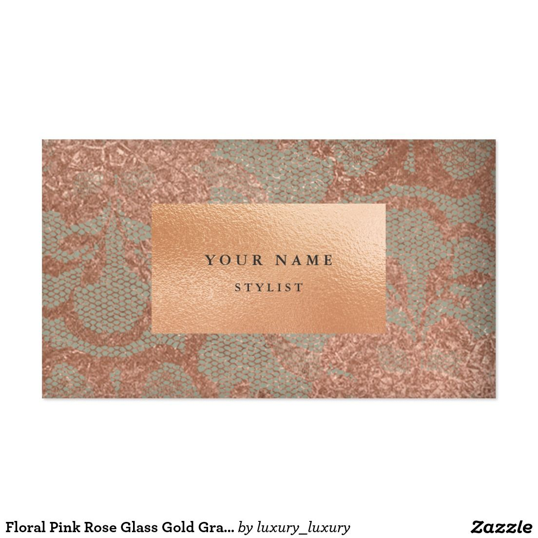 Floral Pink Rose Glass Gold Gray Lace Pack Of Standard Business Cards