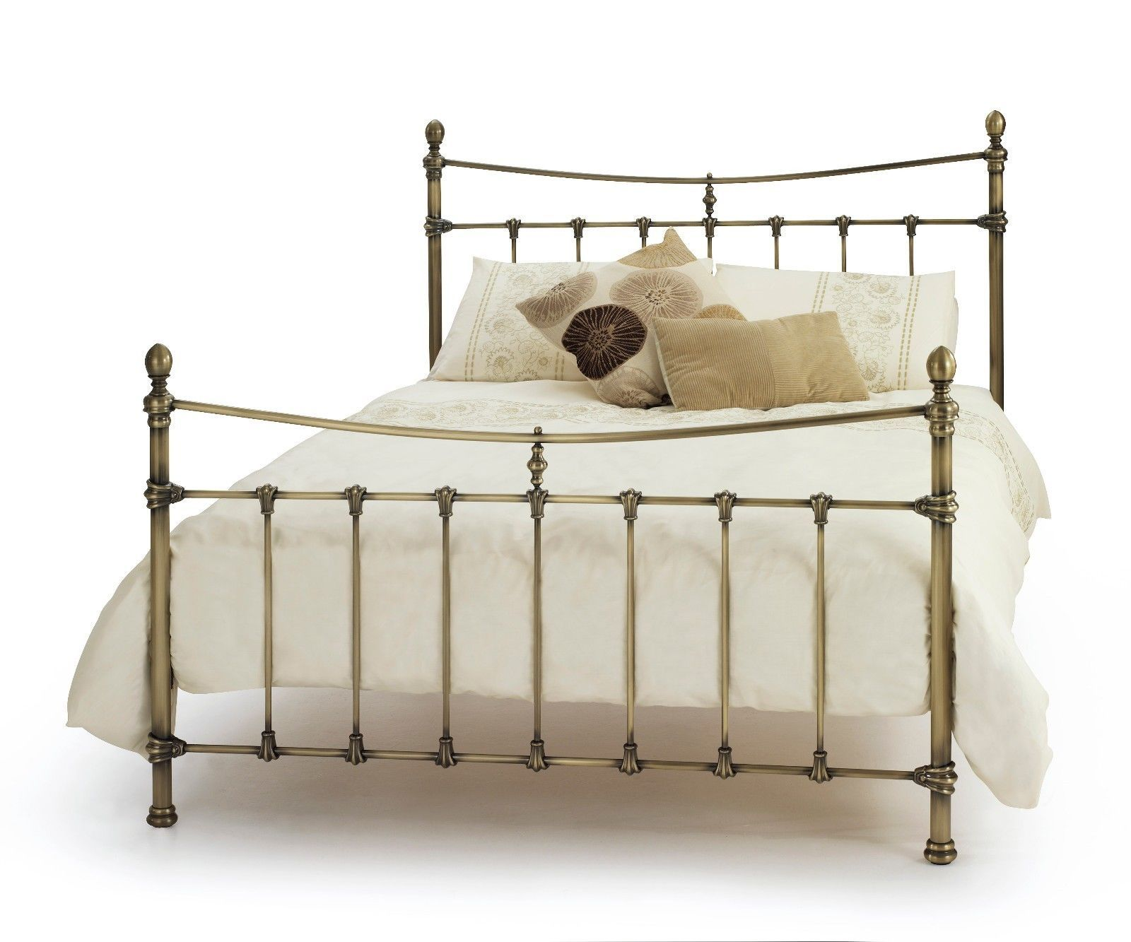 Estelle georgian quality metal bed #frame in antique #brass double ...