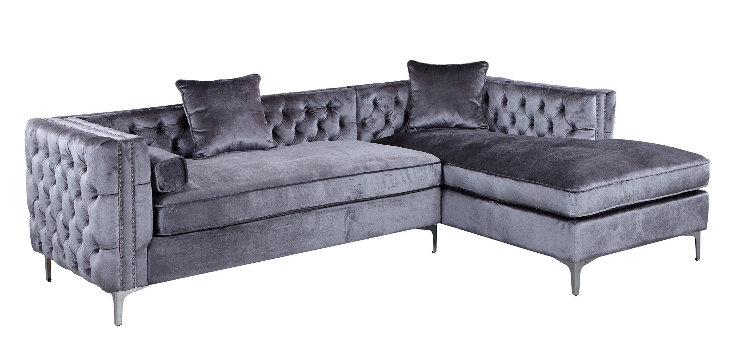 Iconic Home Da Vinci Tufted Silver Trim Grey Velvet Right Facing Sectional Sofa With Silver Tone Meta Velvet Sectional Sectional Sofa Couch Grey Sectional Sofa