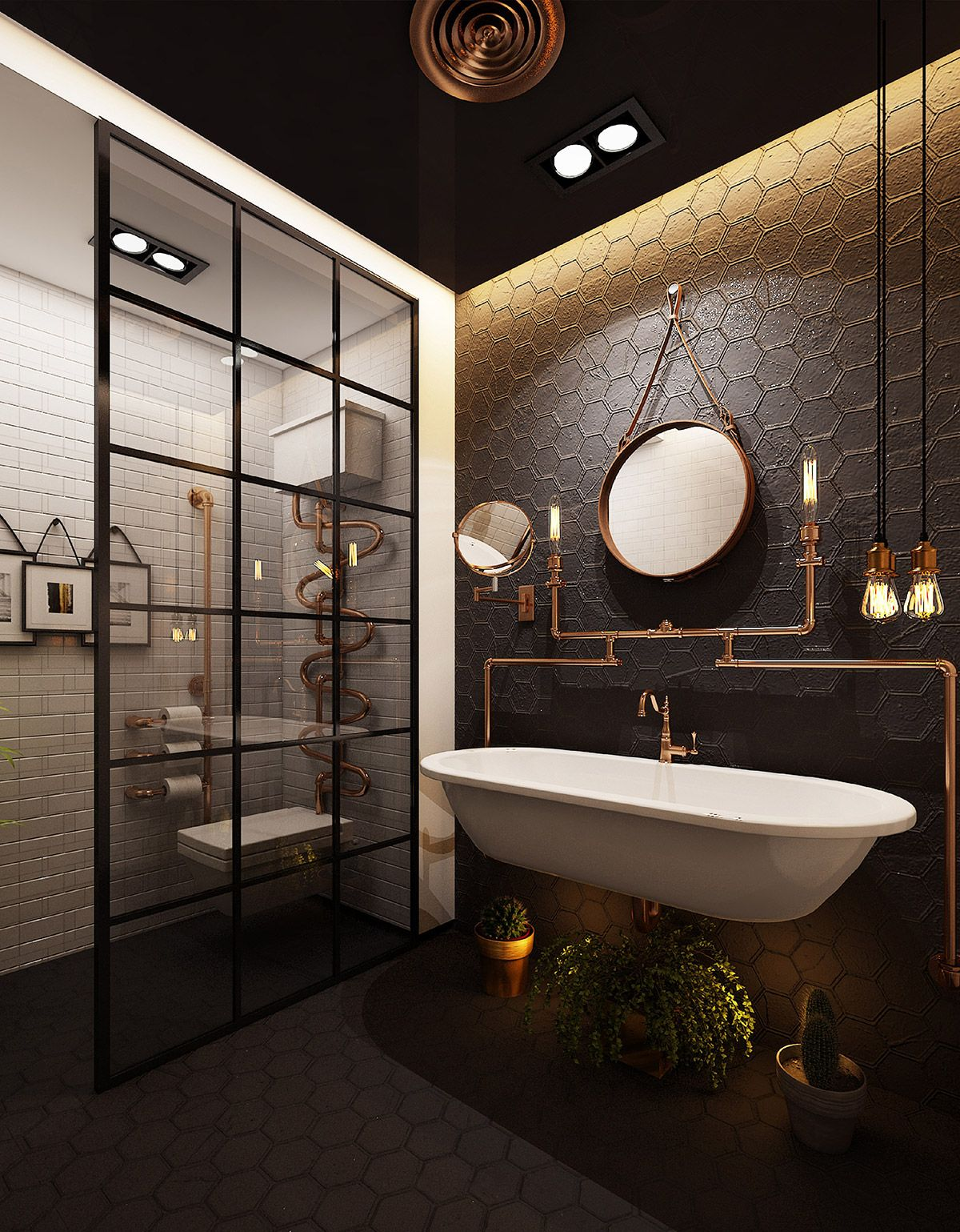 51 Industrial Style Bathrooms Plus Ideas Accessories You Can Copy From Them Industrial Bathroom Decor Industrial Style Bathroom Industrial Bathroom Design